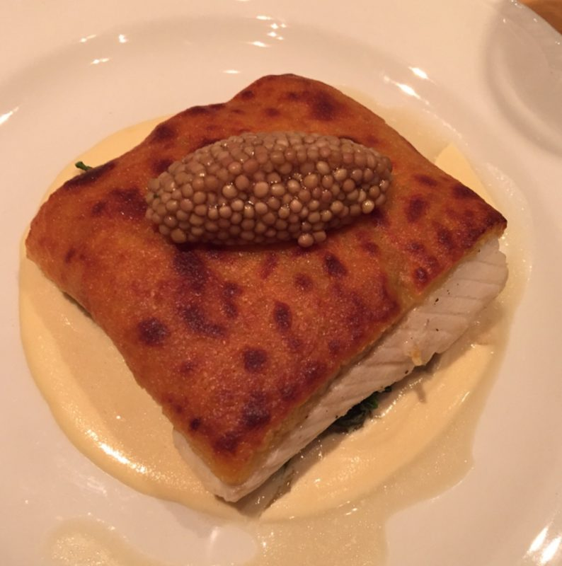 Turbot with Gruyere Crumb and Spinach