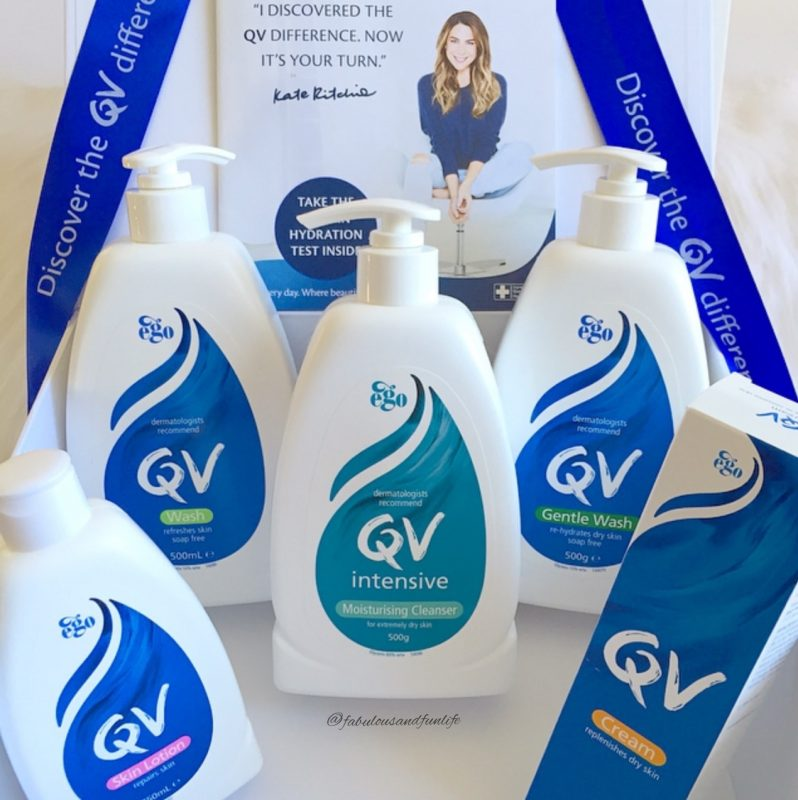QV Body Range including QV Wash, QV Gentle Wash, QV Intensive Moisturising Cleanser, QV Skin Lotion & QV Cream.