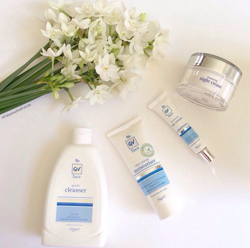 QV Face Gentle Cleanser, Ultra Calming Moisturiser, Revitalising Eye Cream & Nurturing Night Cream.