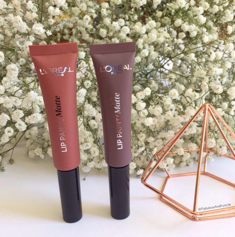 L'Oreal Infallible Matte Lip Paint L-R: Babe-in & Nude-ist.