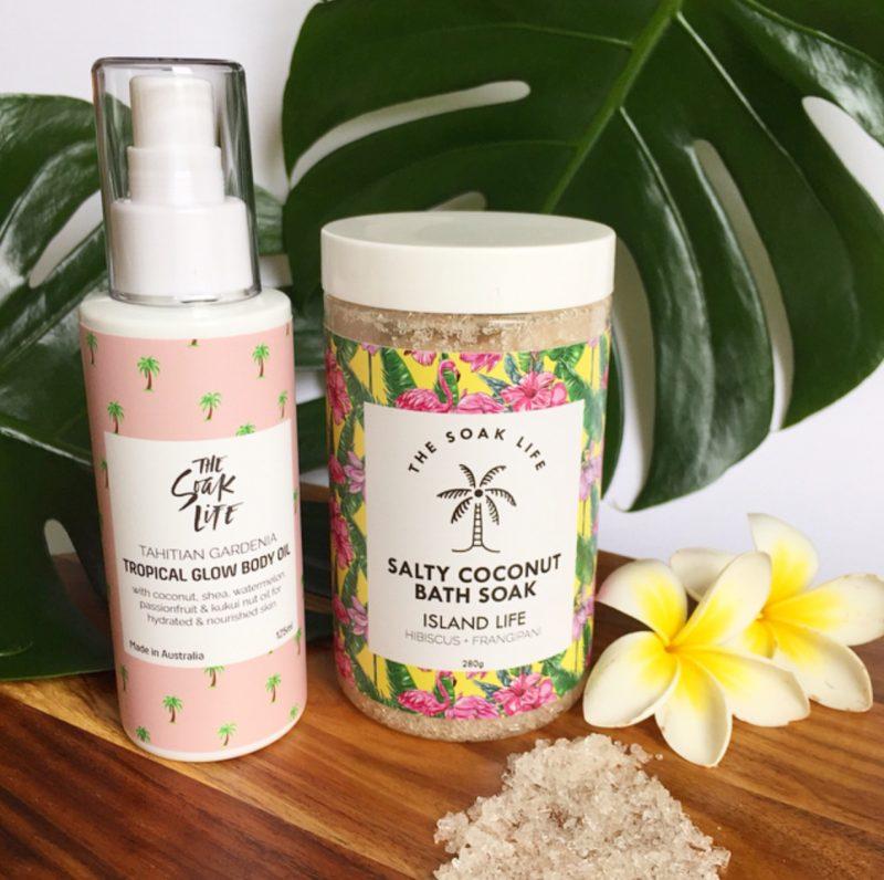 The Soak Life Tropical Glow Body Oil and Salty Coconut Bath Soak
