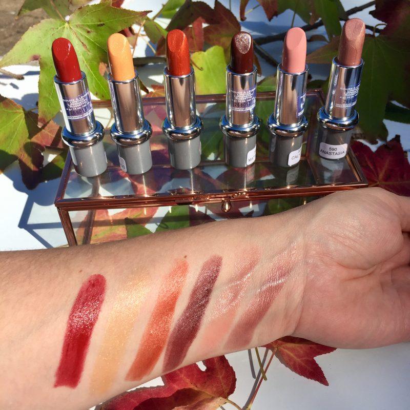 Mavala Lipstick Swatches: Legend Collection. L-R: Artemis, Eldorado, Jasmina, Mata Hari, Calypso & Anastasia.