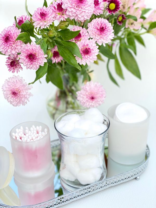 Uses For Empty Candle Jars - Cotton Balls, Cotton Buds & Cotton Rounds Storage